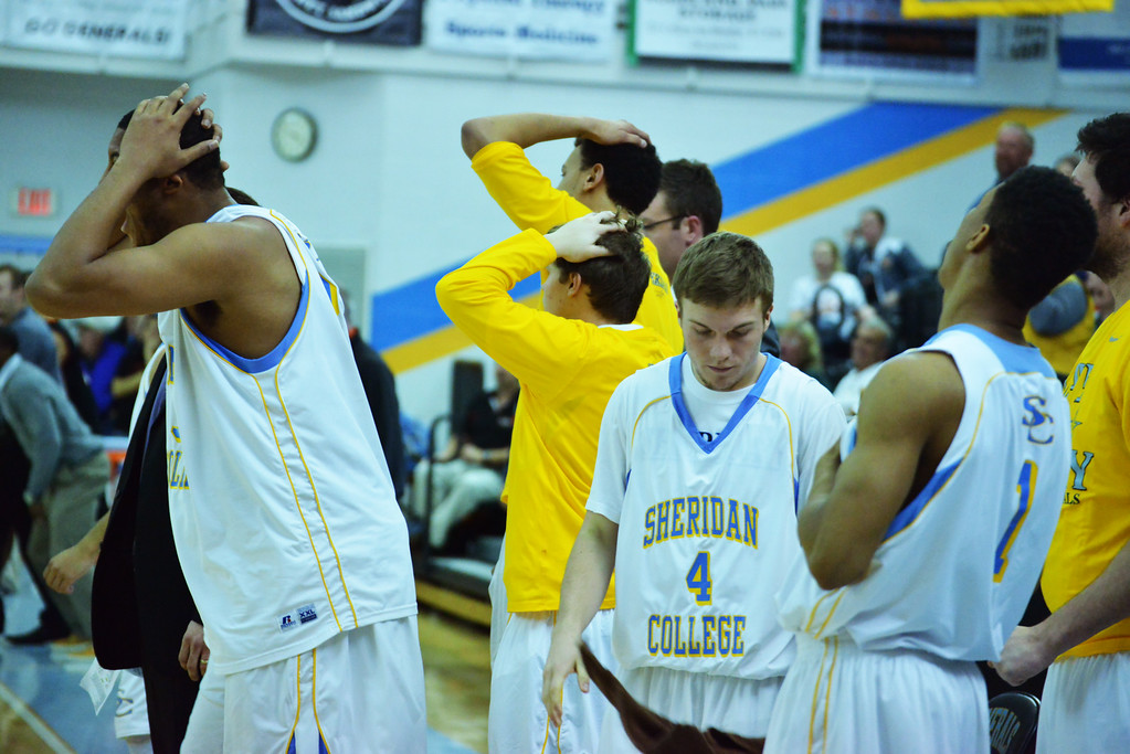 The Generals bench reacts after a heartbreaking 70-69 loss on a buzzer-beater 3 from Central Wyoming Wednesday night at the Bruce Hoffman Golden Dome.