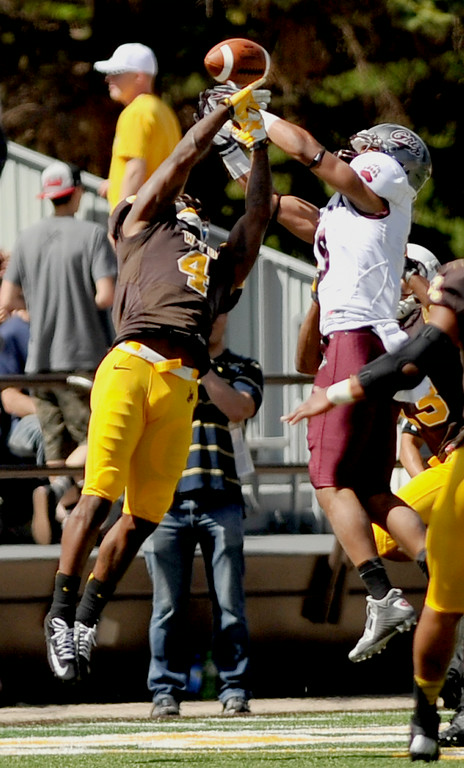 Cornerback DeAndre Jones breaks up a long pass in the second quarter of the University of Wyoming's season opener against Montana on Saturday in Laramie. The Sheridan Press|Mike Pruden