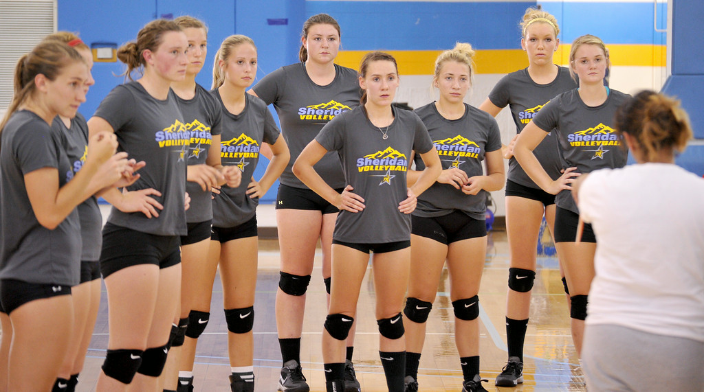 The Sheridan College volleyball team listens to coach Jennifer Stadler during practice on Friday at the Golden Dome. The Sheridan Press|Mike Pruden