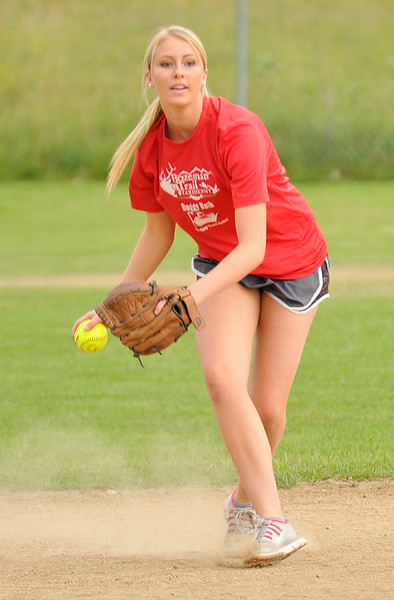 Kaitlin Puuri fields a ground ball on Wednesday at the Sheridan Community Softball Complex. The Sheridan Press|Mike Pruden