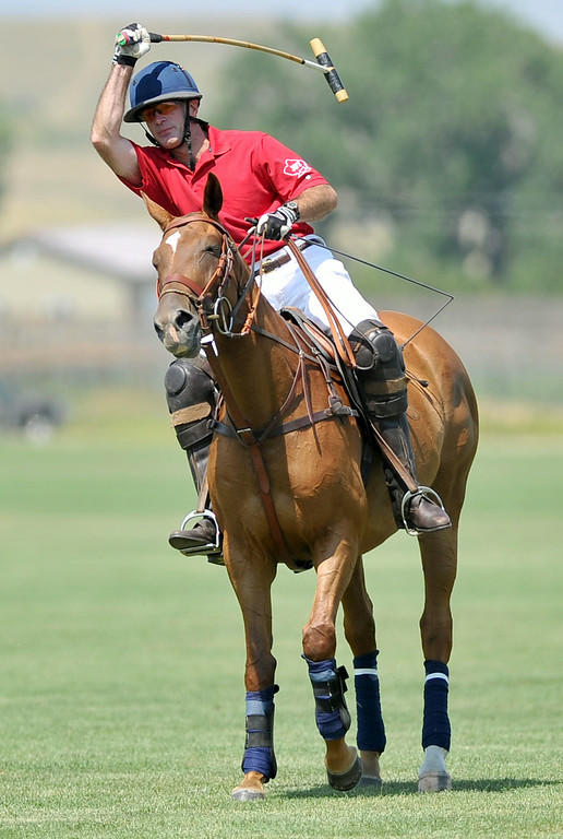 Fox Benton scores on a penalty shot on Sunday at the Big Horn Polo Club. The Sheridan Press|Mike Pruden