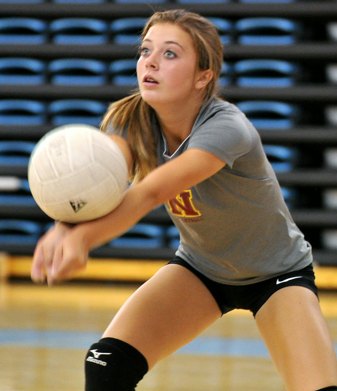 Bailey Collins makes a pass during the Sheridan College Volleyball Camp on Monday at the Bruce Hoffman Golden Dome. The Sheridan Press|Mike Pruden