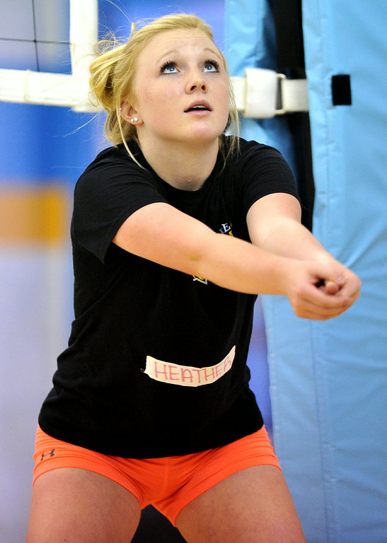 Heather Heath practices her passing at the Sheridan College Volleyball Camp on Monday at Sheridan College. The Sheridan Press|Mike Pruden