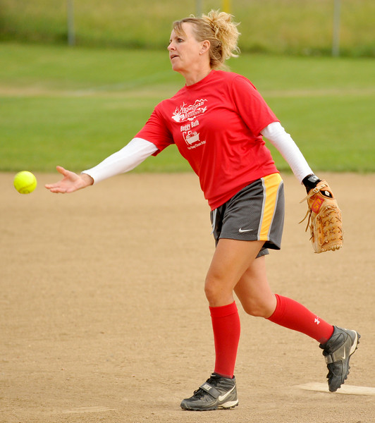 Deb Gamble pitches for the Buggy Bath/Bozeman Trail team on Wednesday at the Sheridan Community Softball Complex. Wednesday night kicked off the first round of the Women's League tournament. The Sheridan Press|Mike Pruden
