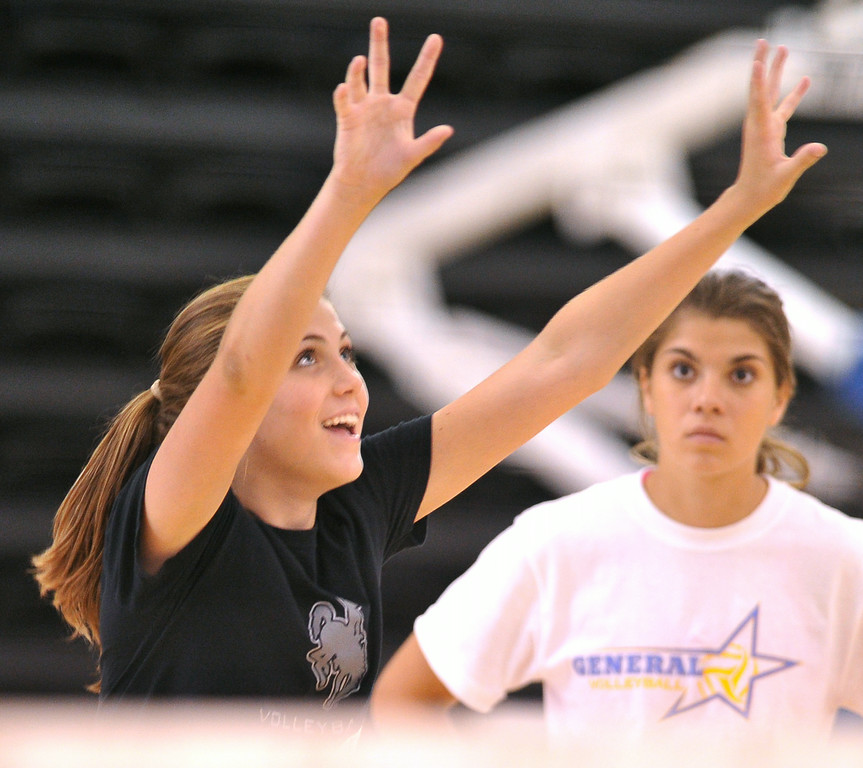 Bailey Coon makes a pass during the Sheridan College Volleyball Camp on Monday at the Bruce Hoffman Golden Dome. The Sheridan Press|Mike Pruden