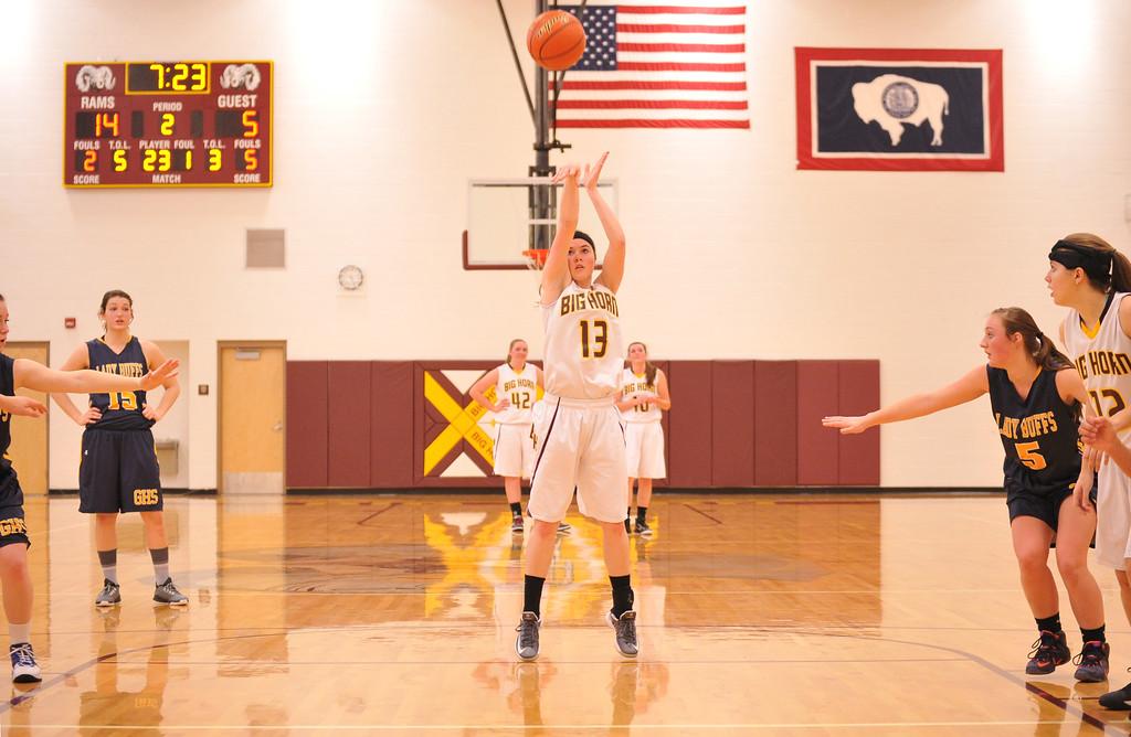 Bailey Bard shoots a free throw Friday at Big Horn High School. Mike Pruden | The Sheridan Press
