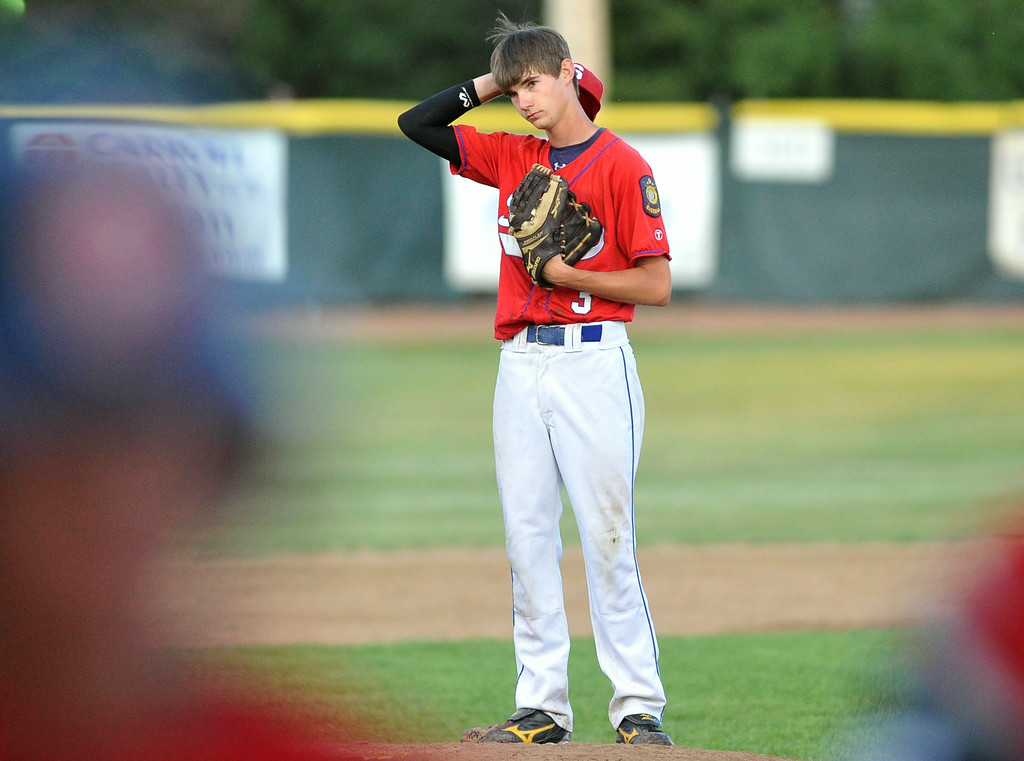 Sheridan Troopers pitcher Tyler Stauffer scratches his head after giving up a grand slam to the Casper Oilers on Wednesday at Thorne-Rider Stadium. The Troopers lost both games of their doubleheader, 16-7 and 9-2. The Sheridan Press|Mike Pruden