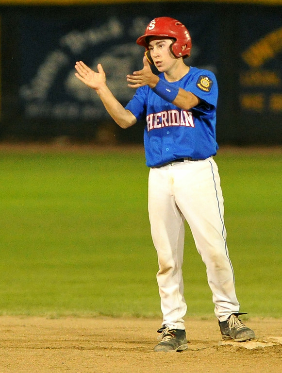 Noah Gustafson claps his hands towards his dugout after a double in the Jets round-one victory at the Legion 'B' State Tournament on Thursday at Thorne-Rider Stadium. The Sheridan Press|Mike Pruden