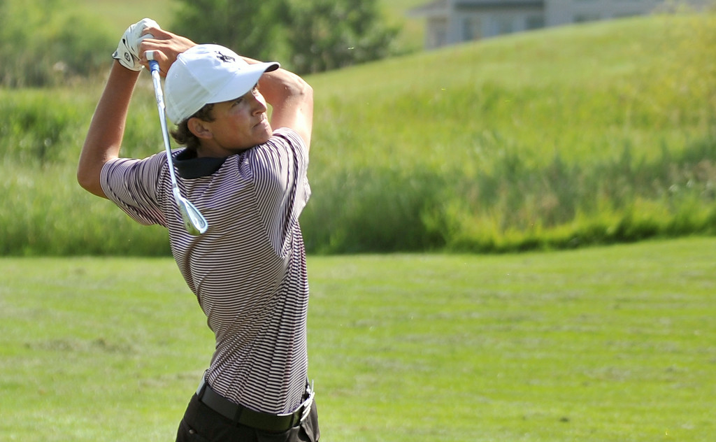 SHS senior Jack Mavrakis holds his follow-through during a practice session on Wednesday at the Powder Horn. Mavrakis will play with Team Wyoming in the Junior America's Cup next week in Vancouver. The Sheridan Press|Mike Pruden