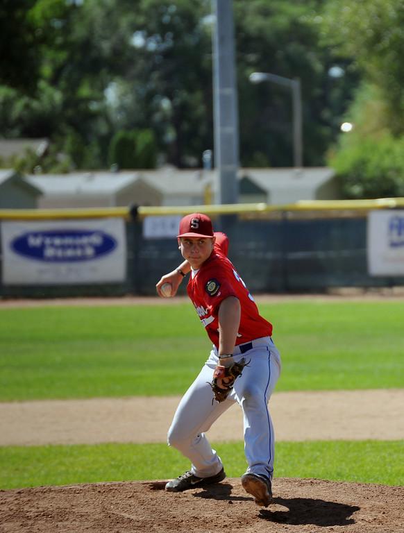 Nolan Mccafferty throws a pitch for Sheridan Sunday against Cheyenne. The Sheridan Press/Kendra Cousineau