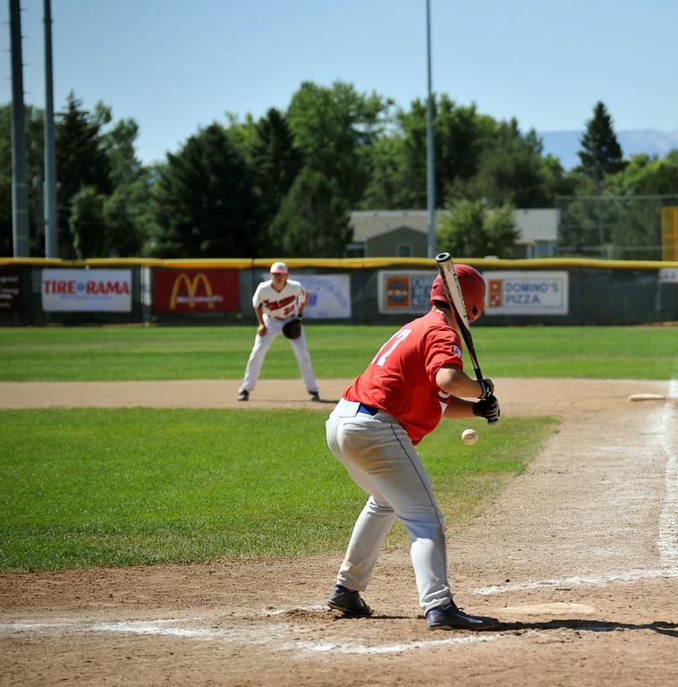 Davis Alden swings at a Cheyenne pitch Sunday. The Sheridan Press/Kendra Cousineau