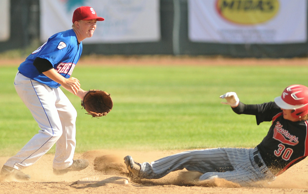 Andrew Boint covers second base during a steal on Monday at Thorne-Rider Stadium. The Sheridan Press|Mike Pruden