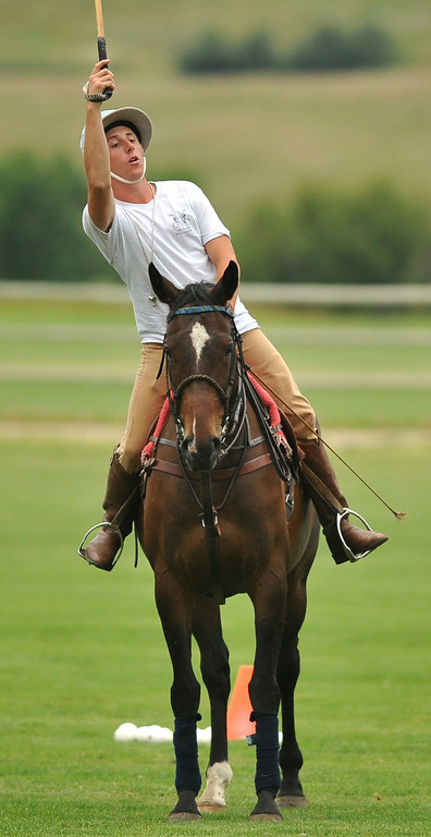 Ethan Galis demonstrates proper technique during a polo lesson last week at the Big Horn Polo Club. The Sheridan Press|Mike Pruden