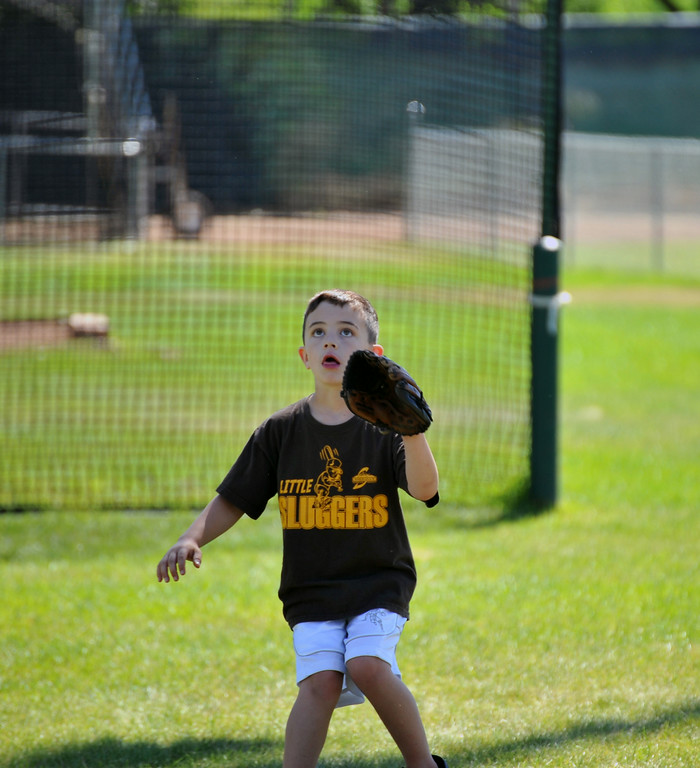 Seven-year-old Daniel Newman waits on a ball Sunday at Thorne-Rider park. The Sheridan Press/Kendra Cousineau