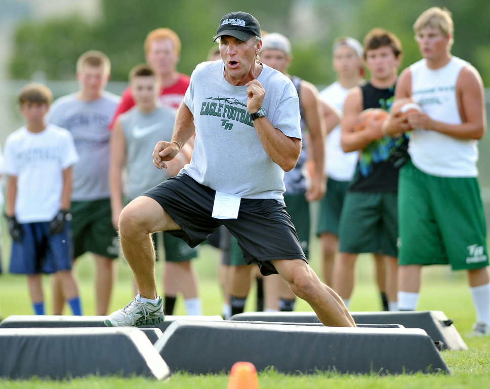 Tongue River football coach John Scott demonstrates a drill in front of campers on Thursday at Tongue River High School. The Sheridan Press|Mike Pruden