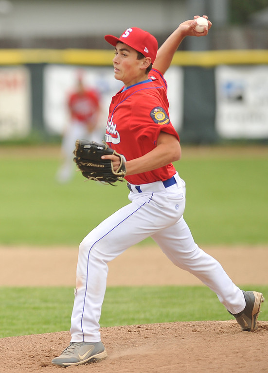Sheridan Trooper Blake Godwin pitches during the game against Douglas Thursday evening at Thorne Rider Stadium.