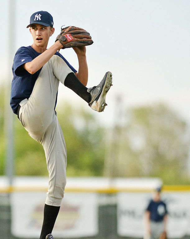 New York Yankee's pitcher Jalen Hammond winds up during the Sheridan Babe Ruth League game Tuesday evening at Redle Field.