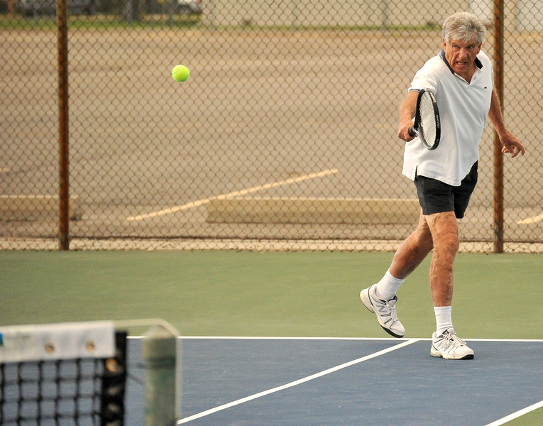 Bill Brooks hits a backhand during a match Monday at Thorne-Rider Park. The Sheridan Press|Mike Pruden