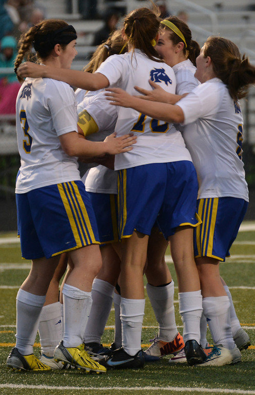 Lady Broncs celebrate after an incredible goal. The Sheridan Press | Tanya Hamner