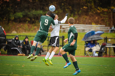 Varsity soccer quarterfinal playoff game between Sunapee (green) and Derryfield (white) held on November 1, 2014 at the The Derryfield School in Manchester, NH.