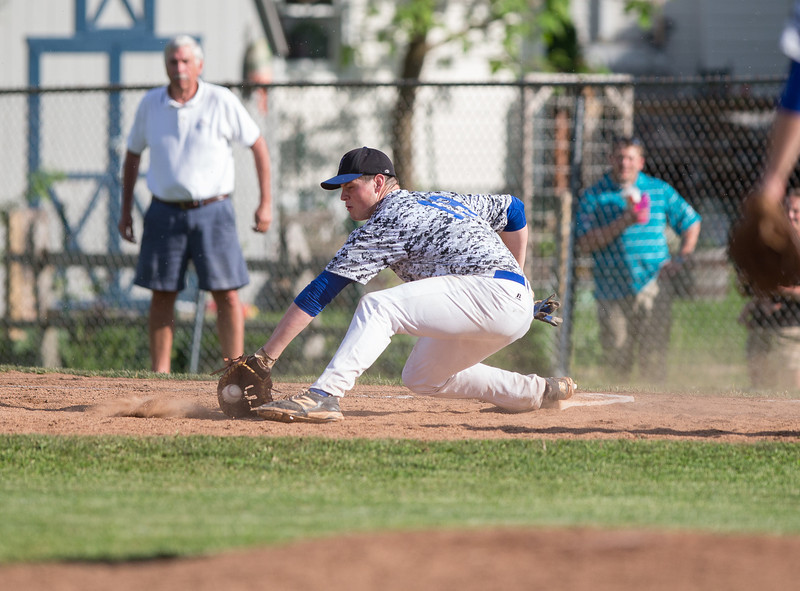 High School Varsity Baseball, Section IV, Class AA Semifinal.  Horseheads Blue Raiders at Corning Hawks. May 27, 2014.