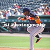 Jonathan Villar of the Houston Astros tries to bunt the ball