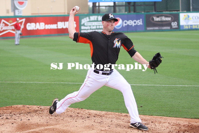 Carter Capps of the Miami Marlins warming up