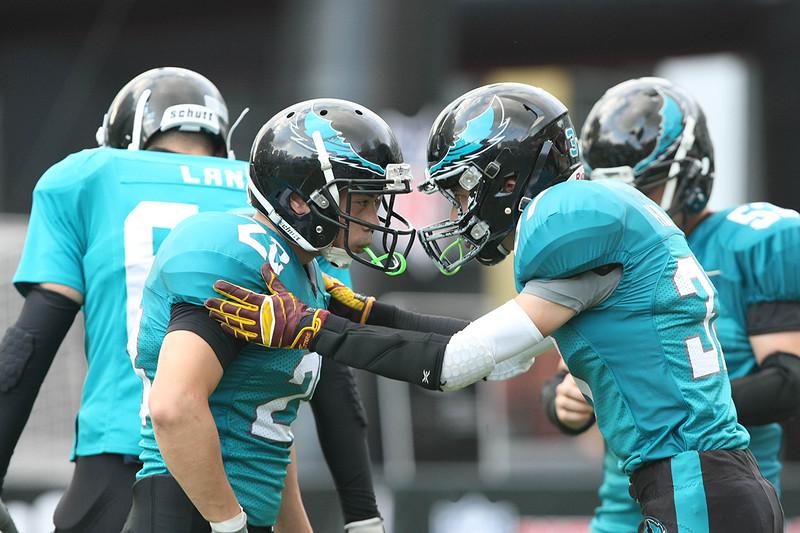 2014 NFL Home Field Shanghai - Week 2 - A quick pep talk between Hangzhou Ospreys teammates before their game against the Shanghai Titans.