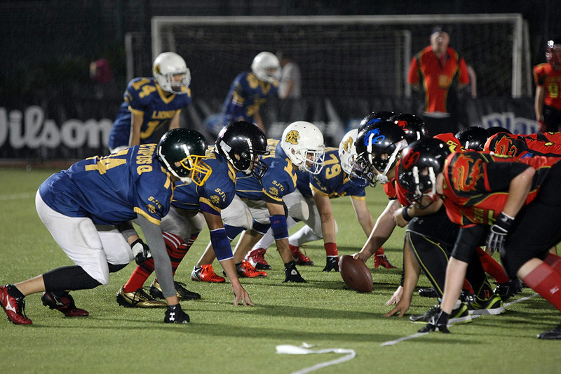 2014 NFL Home Field Shanghai - Week 7 - The tackle game of the night featured two local high school teams, the China U19  Sea Dragons and the SHJT University Lions.