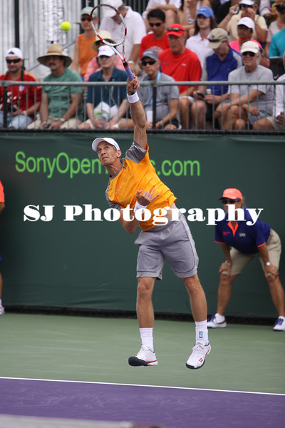 Jarkko Nieminen (FIN) playing against Alexandr Dologopokov (UKR) at the 2014 Sony Open Tennis in Miami, Florida at Crandon Tennis Park on March 22, 2014. Dologopokov defeated Nieminen in the 1st round, 6-0, 6-1.