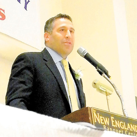 Corey J. Corbin/NEWS<br /> New Castle boys basketball coach Ralph Blundo addresses the audience during his acceptance speech duriing the 2014 Lawrence County Historical Society's Sports Hall of Fame induction ceremony yesterday at the New Englander.