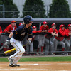 CARL RUSSO/Staff photo. Andover high defeated Waltham 11-4 in baseball tournament action Wednesday night. Andover's Frank Potts sprints out of the batter's box on this hit. 6/4/2014.