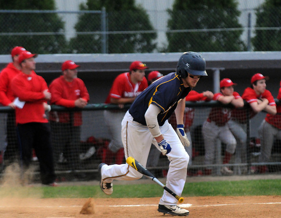 CARL RUSSO/Staff photo. Andover high defeated Waltham 11-4 in baseball tournament action Wednesday night. Andover's Charles O'Callaghan sprints out of the batter's box for a hit. 6/4/2014.