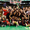Central Catholic celebrates their Division 1 State semifinals win over Catholic Memorial at the TD Garden in Boston.