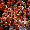 RYAN HUTTON/ Staff photo.<br /> Central Catholic fans sway arm-in-arm and sing as their team's defeat becomes imminent during the fourth period of Saturday night's state final game against Putnam.
