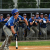 CARL RUSSO/Staff photo. Georgetown high defeated Boston International 12-1 in baseball tournament action on Wednesday. Georgetown's Michael Goddu looks to sprint to first base on this hit. 6/4/2014.