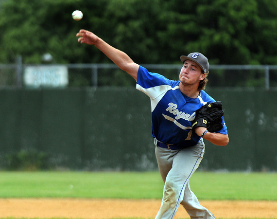 CARL RUSSO/Staff photo. NEWBURYPORT NEWS: Georgetown high defeated Boston International 12-1 in baseball tournament action on Wednesday. Georgetown pitcher and senior captain, Patrick Slack in action.  6/4/2014.