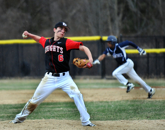 North Andover pitcher, Brendan Parisotto in Friday baseball action against Lawrence. 4/11/2014.