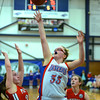 RYAN HUTTON/ Staff photo. <br /> Londonderry's Casey Evans (33) puts up a shot over the heads of Pinkerton defenders during the first half of Thursday night's game.