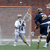 Andover's Will Reardon fires a shot past Haverhill defender Dylan Giles, right, and goalie Zach Grundy for a goal.