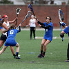 Haverhill's Abby Nauffts fires the ball in for a goal past Methuen defenders Megan Bruneau (6) and Samantha McGovern (8) and goalie Sophia Tiar.