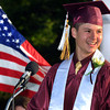 CARL RUSSO/Staff photo. GAZETTE:  Whittier senior class president, Liam Burns of Haverhill, who has perfect attendance, gives his graduation address during the Whittier Regional Vocational Technical High School graduation ceremony Thursday night. 5/29/2014.
