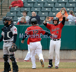 4/4/2014 Mike Orazzi | Staff Rock Cats Nate Hanson (12) and Brad Boyer (4) during Friday's game with the Richmond Flying Squirrels in New Britain.