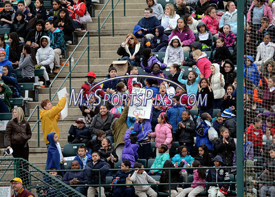 4/4/2014 Mike Orazzi | Staff New Britain school children in the stands during Friday's game with the Richmond Flying Squirrels in New Britain.