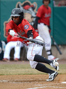 4/4/2014 Mike Orazzi | Staff Rock Cat's Corey Wimberly (1) attempts a bunt against the Richmond Flying Squirrels in New Britain Friday.