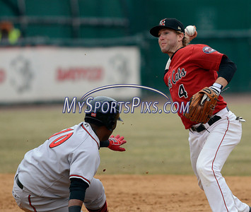 4/4/2014 Mike Orazzi | Staff Rock Cats' Brad Boyer (4) forces out Richmond Flying Squirrels' Angel Villalona (10) at second in New Britain Friday.