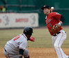 4/4/2014 Mike Orazzi | Staff<br /> Rock Cats' Brad Boyer (4) forces out Richmond Flying Squirrels' Angel Villalona (10) at second in New Britain Friday.