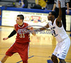2/15/2014 Mike Orazzi | Staff<br /> Sacred Heart University's Steve Glowiak (31) and Central Connecticut State University's Juwan Newman (2) on Saturday at CCSU.