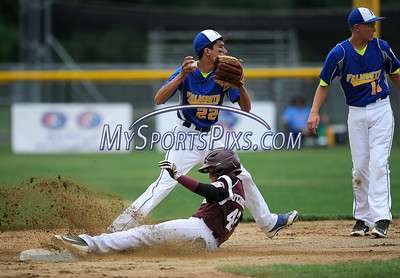 8/1/2014 Mike Orazzi | Staff Maine's's Joshua LeFevre (22) forces out New Hampshire Conor O'Connell (42) at second base in Bristol on Friday.