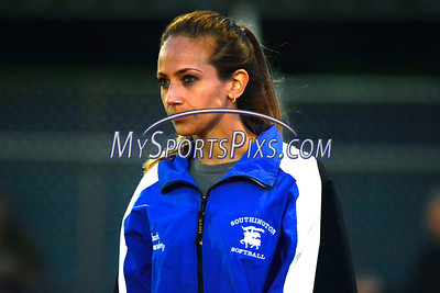 6/14/2014 Mike Orazzi | StaffSouthington High School softball coach Davina Hernandez at the start of Saturday's Class LL Final with Amity at West Haven High School.